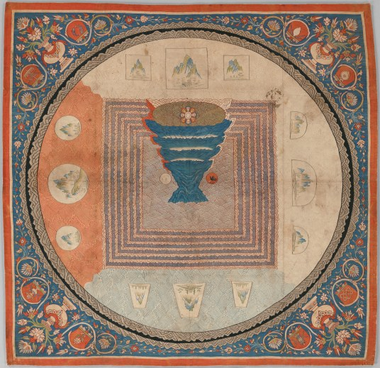 Cosmological Mandala with Mount Meru. China. Yuan Dynasty