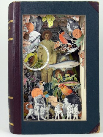***EXCLUSIVE*** BRISTOL, UNITED KINGDOM - UNDATED: A 3D book sculpture created from a antiquarian book called Gilles in Bristol, England. FROM Boy's Own adventure books to a History of the 19th Century this artist has turned old books into an art form. Surreal images of tin-pot soldiers from the past standing to attention next to giant pink flamingos shows that images from the past can be combined through carefully cutting up historical books. Bristol-based artist, Alexander Korzer-Robinson decided to use antiquarian books in this way to deconstruct our ideas of the past. PHOTOGRAPH BY Alexander Korzer-Robinson / Barcroft Media UK Office, London. T +44 845 370 2233 W www.barcroftmedia.com USA Office, New York City. T +1 212 796 2458 W www.barcroftusa.com Indian Office, Delhi. T +91 11 4053 2429 W www.barcroftindia.com