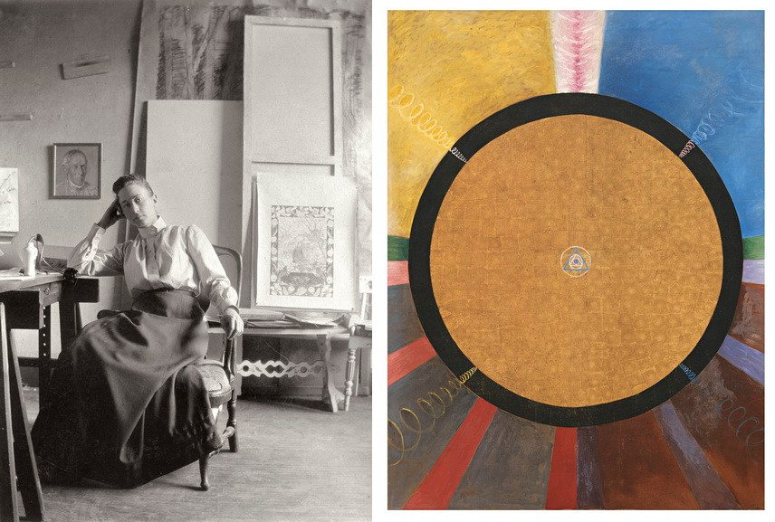 Hilma-af-Klint-in-her-studio-Right-Hilma-af-Klint-Altarpiece-No-3