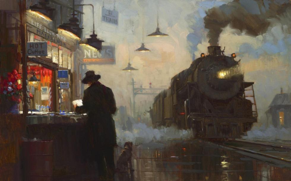 lionel walden (american, 1861-1933) the night train