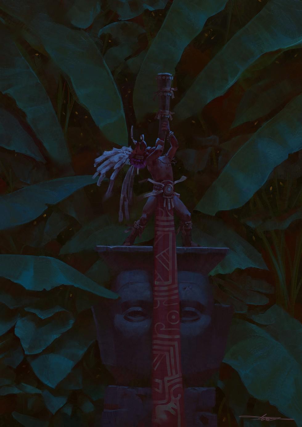 Native man hiding in jungle foliage at night