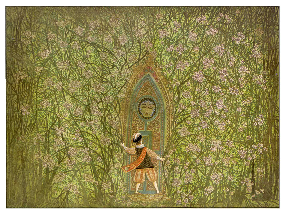 Man in medieval dress before a door in the forest