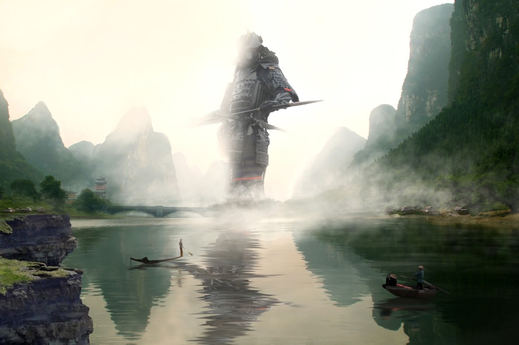Fisherman standing before a giant samurai