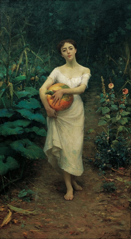 Fausto Zonaro (Italian, 1854-1929) Young Girl Carrying a Pumpkin