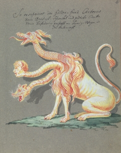 L0076381 Illustration of a three-headed creature. Credit: Wellcome Library, London. Wellcome Images images@wellcome.ac.uk http://wellcomeimages.org Compendium rarissimum totius Artis Magicae sistematisatae per celeberrimos Artis hujus Magistros. Anno 1057. Noli me tangere. Watercolour c. 1775 Published: - Copyrighted work available under Creative Commons Attribution only licence CC BY 4.0 http://creativecommons.org/licenses/by/4.0/