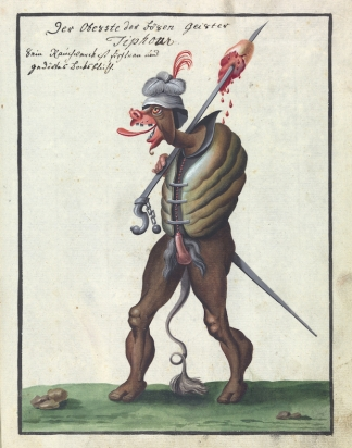 L0076367 A compendium about demons and magic. MS 1766. Credit: Wellcome Library, London. Wellcome Images images@wellcome.ac.uk http://wellcomeimages.org Compendium rarissimum totius Artis Magicae sistematisatae per celeberrimos Artis hujus Magistros. Anno 1057. Noli me tangere. Watercolour c. 1775 Published: - Copyrighted work available under Creative Commons Attribution only licence CC BY 4.0 http://creativecommons.org/licenses/by/4.0/