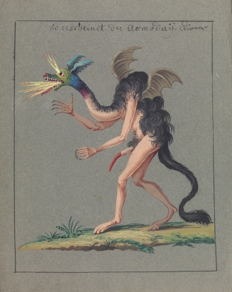 L0076384 Illustration of a hybrid monster. Credit: Wellcome Library, London. Wellcome Images images@wellcome.ac.uk http://wellcomeimages.org Compendium rarissimum totius Artis Magicae sistematisatae per celeberrimos Artis hujus Magistros. Anno 1057. Noli me tangere. Watercolour c. 1775 Published: - Copyrighted work available under Creative Commons Attribution only licence CC BY 4.0 http://creativecommons.org/licenses/by/4.0/