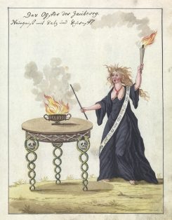 L0076364 A compendium about demons and magic. MS 1766. Credit: Wellcome Library, London. Wellcome Images images@wellcome.ac.uk http://wellcomeimages.org Compendium rarissimum totius Artis Magicae sistematisatae per celeberrimos Artis hujus Magistros. Anno 1057. Noli me tangere. Watercolour c. 1775 Published: - Copyrighted work available under Creative Commons Attribution only licence CC BY 4.0 http://creativecommons.org/licenses/by/4.0/