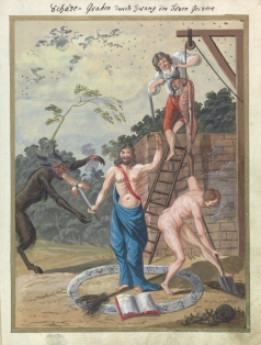 L0076361 A compendium about demons and magic. MS 1766. Credit: Wellcome Library, London. Wellcome Images images@wellcome.ac.uk http://wellcomeimages.org Compendium rarissimum totius Artis Magicae sistematisatae per celeberrimos Artis hujus Magistros. Anno 1057. Noli me tangere. Watercolour c. 1775 Published: - Copyrighted work available under Creative Commons Attribution only licence CC BY 4.0 http://creativecommons.org/licenses/by/4.0/