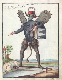 L0076365 Illustration of Asmodai (MS 1766) Credit: Wellcome Library, London. Wellcome Images images@wellcome.ac.uk http://wellcomeimages.org Compendium rarissimum totius Artis Magicae sistematisatae per celeberrimos Artis hujus Magistros. Anno 1057. Noli me tangere. Watercolour c. 1775 Published: - Copyrighted work available under Creative Commons Attribution only licence CC BY 4.0 http://creativecommons.org/licenses/by/4.0/