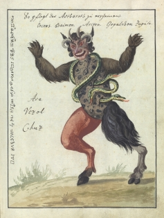 L0076360 A compendium about demons and magic. MS 1766. Credit: Wellcome Library, London. Wellcome Images images@wellcome.ac.uk http://wellcomeimages.org Compendium rarissimum totius Artis Magicae sistematisatae per celeberrimos Artis hujus Magistros. Anno 1057. Noli me tangere. Watercolour c. 1775 Published: - Copyrighted work available under Creative Commons Attribution only licence CC BY 4.0 http://creativecommons.org/licenses/by/4.0/