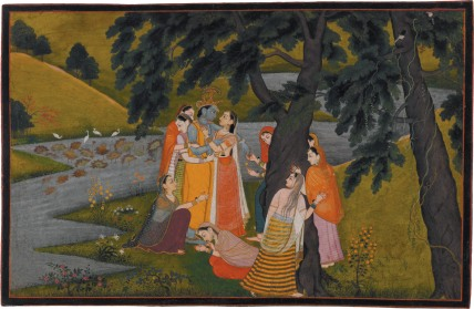 'Krishna and the Gopis on the Bank of the Yamuna River'; miniature painting from the 'Tehri Garwhal' <i>Gita Govinda</i>, circa 1775–1780