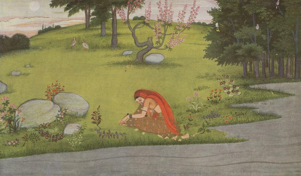 The milkmaid Radha collapsed on the bank of a river