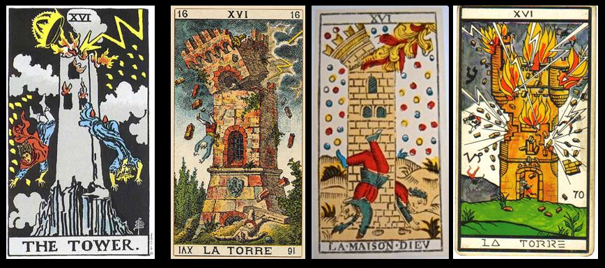 Four versions of The Tower tarot card