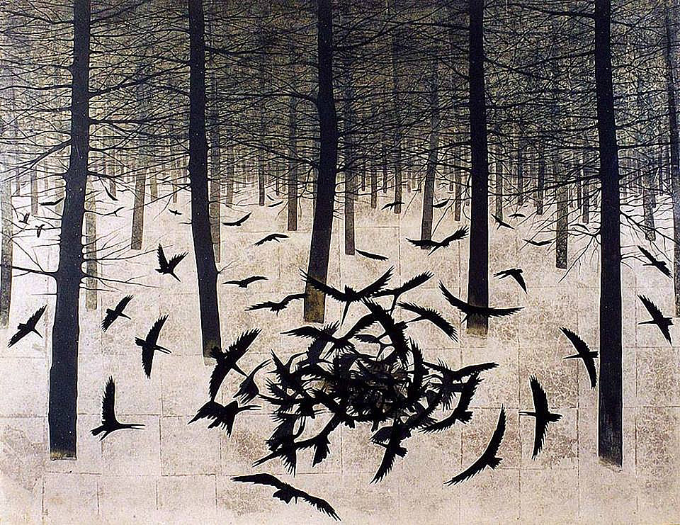 Crows in a Frozen Forest. Matazō Kayama