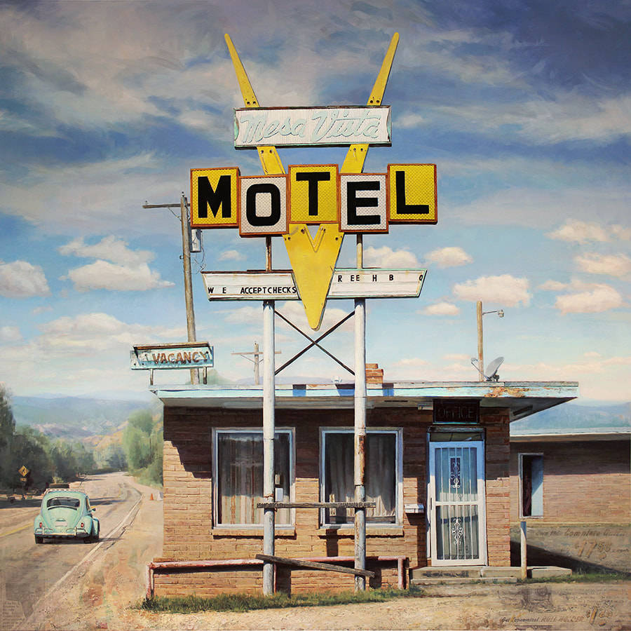 Jason Kowalski painting of derelict motel