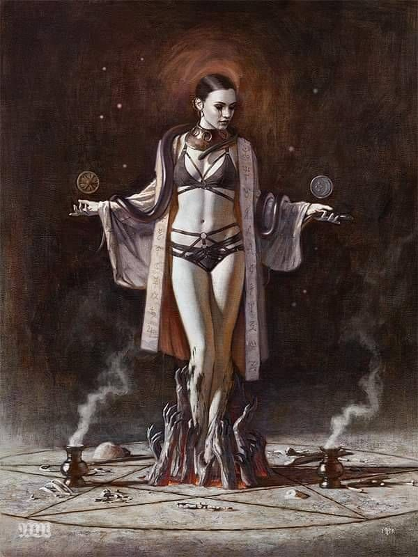 Tom Bagshaw occult woman painting