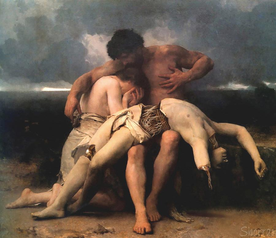Death of a Cyborg by shorra remixing William-Adolphe Bouguereau's 1888 painting The First Mourning