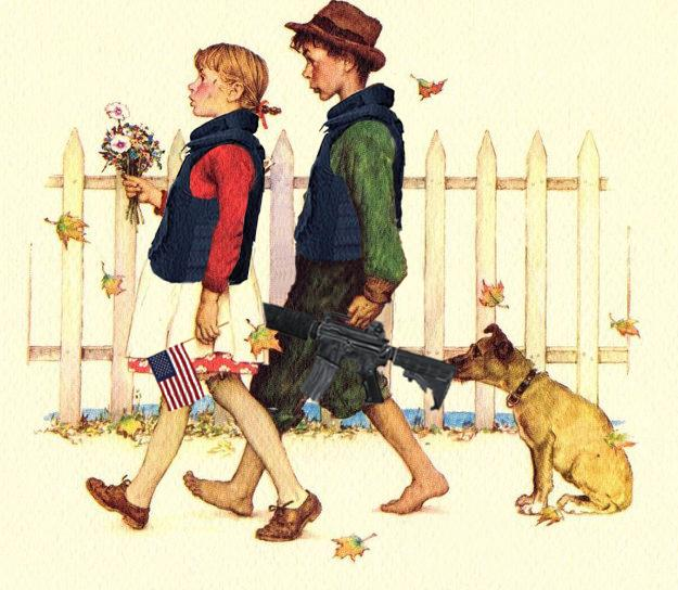 Rockwell school walk with gun by Hetchy Sketch