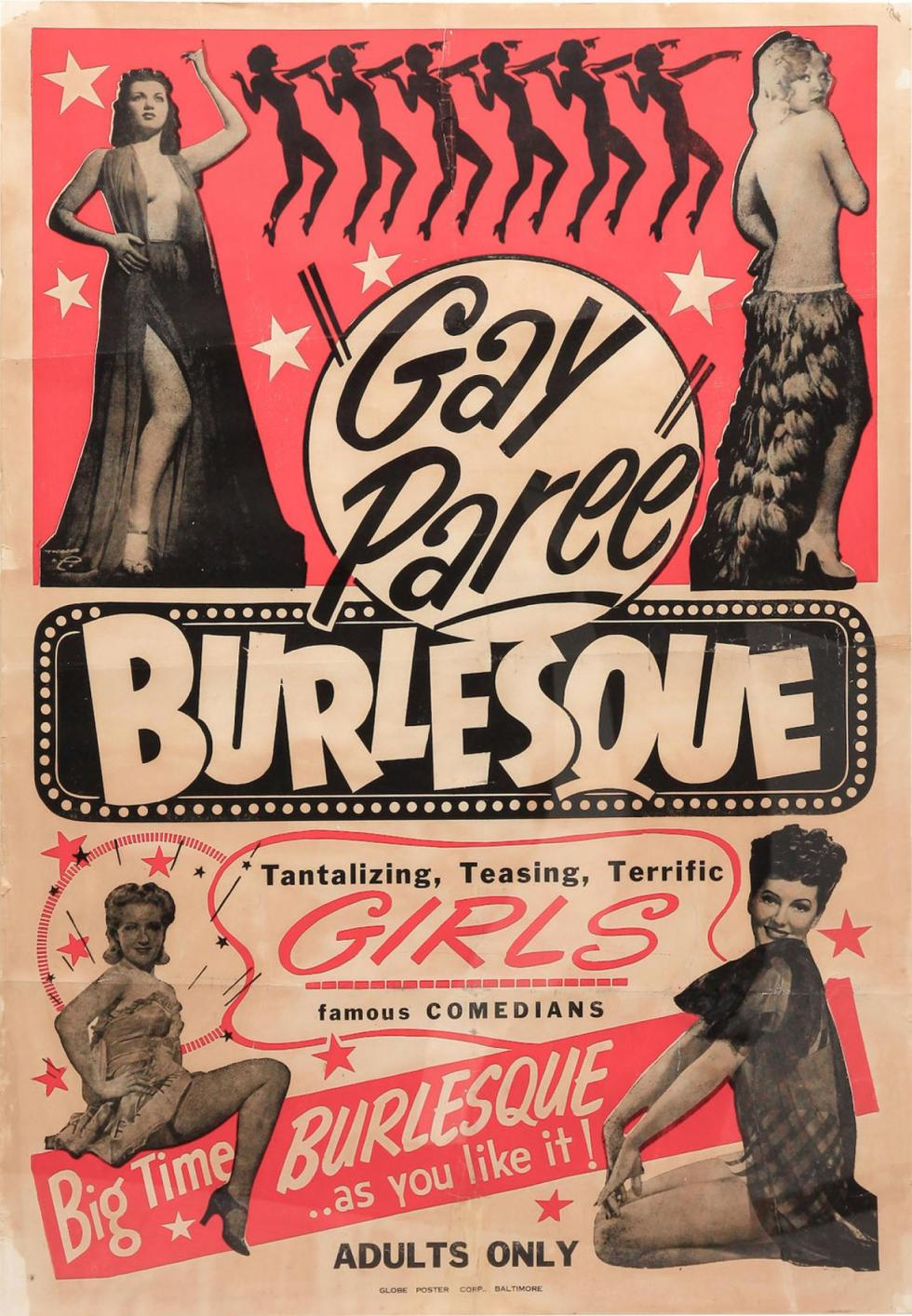 1940s Striptease 'Gay-Paree' burlesque framed poster