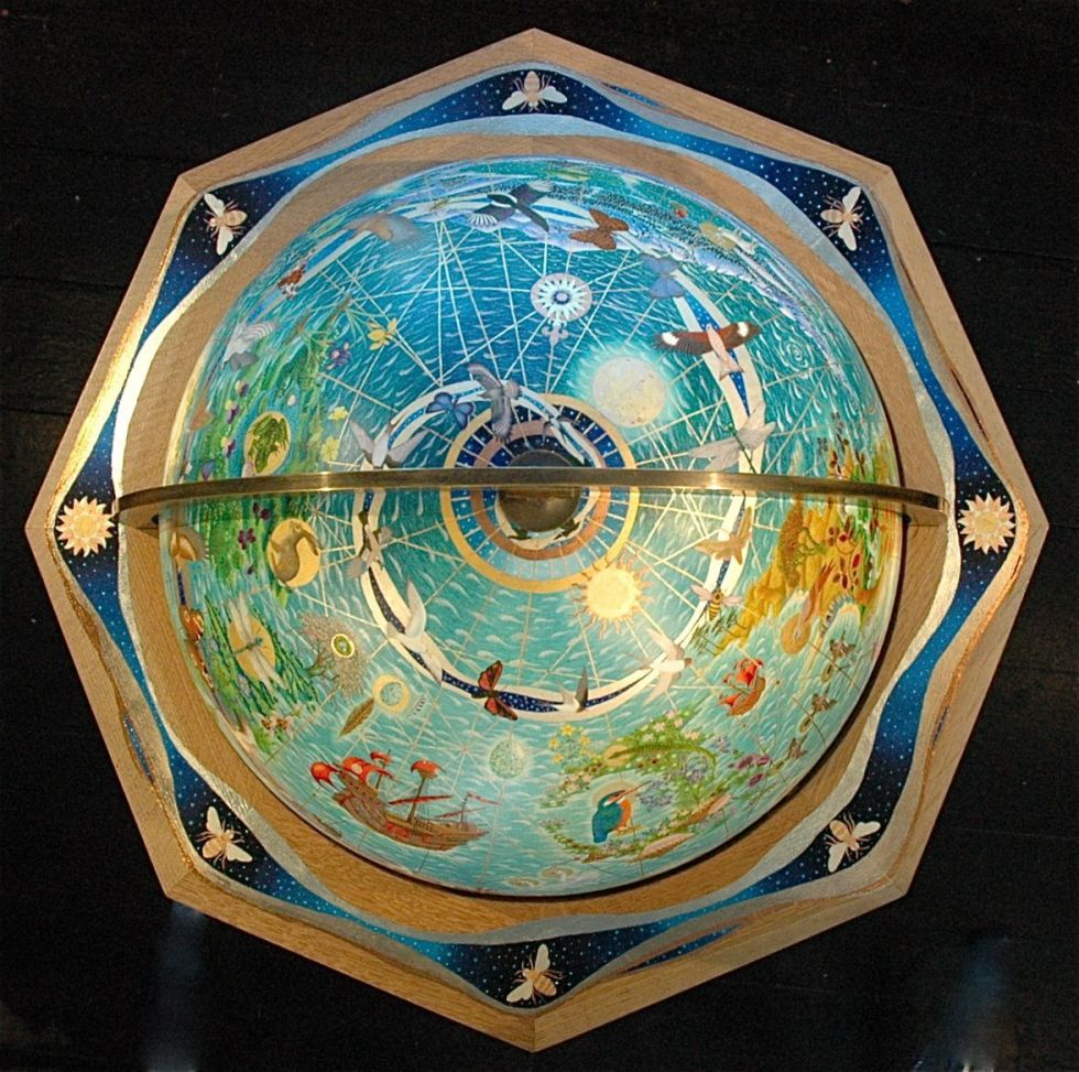 "Fiona Owen — ""Mundus Imaginalis"" Gilded Globe (oil and gold leaf on gesso panel, 2012)"