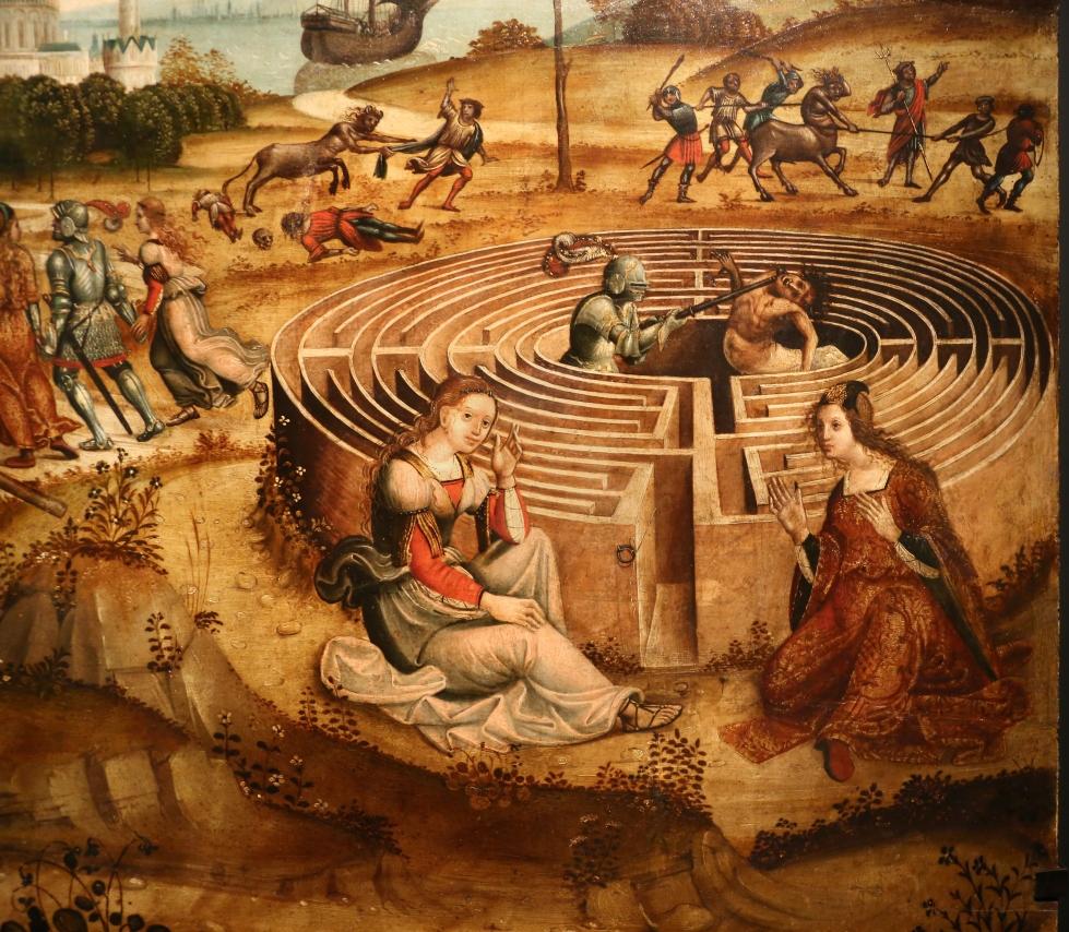 Maestro dei cassoni campana, teseo e il minotauro, 1510-15 ca. (avignone, petit palais) 10 labirinto