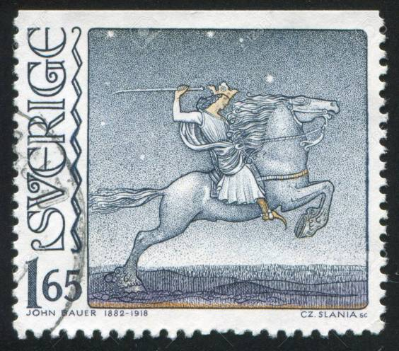 SWEDEN - CIRCA 1982: stamp printed by Sweden, shows Knight on Horseback by John Bauer, circa 1982