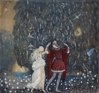 John Bauer Lena_och_riddaren_dansa_(Lena_dances_with_the_knight)_by_John_Bauer_1915