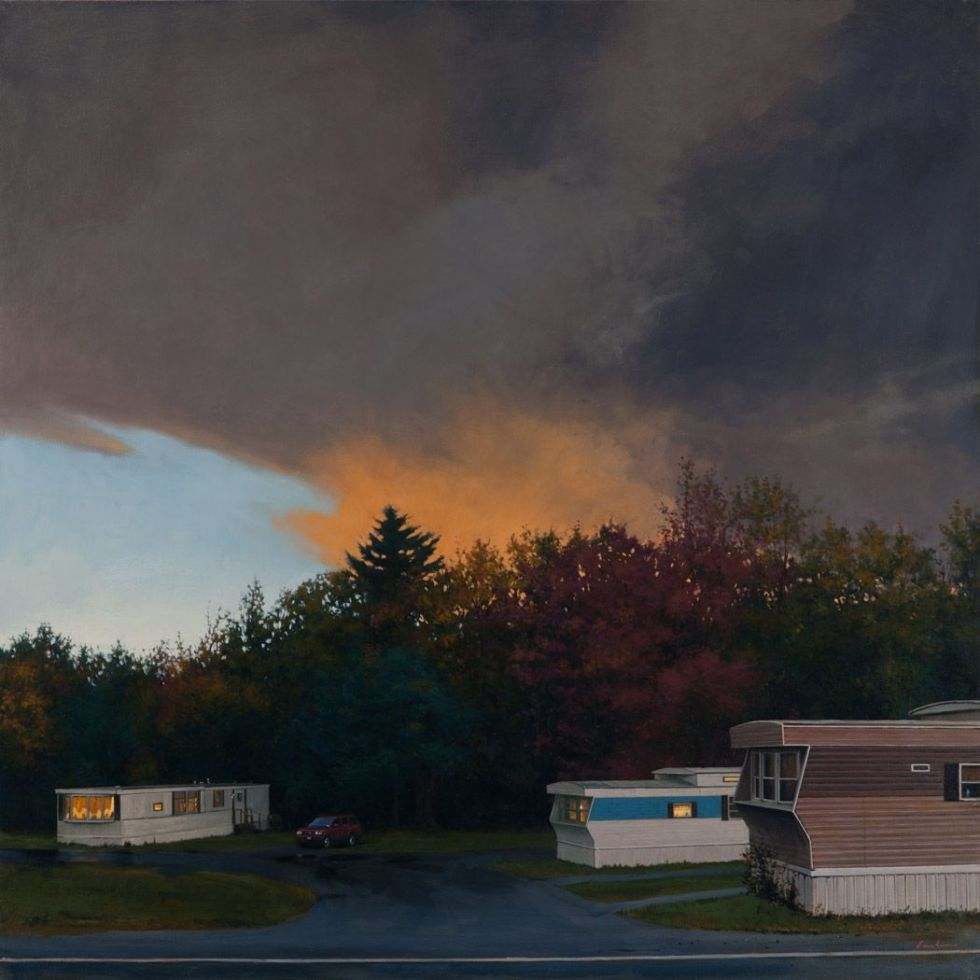 Clouds over trailer park painting